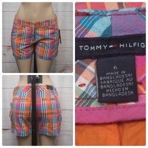Tommy Hilfiger Orange Size 4 Madras Shorts Women's